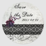 Black Lace Wedding Save the Date Sticker