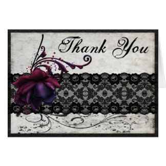Black Lace Wedding Thank You Card