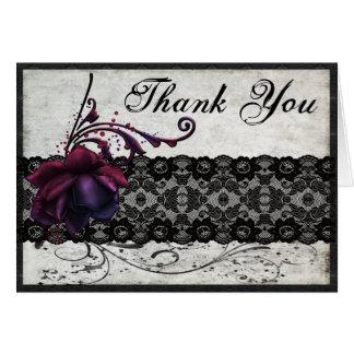 Black Lace Wedding Thank You Greeting Card