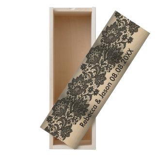 black lace wedding wooden keepsake box