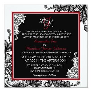 Black Lace White Modern Goth Wedding Invitation