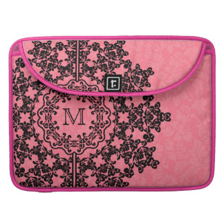 Black Lace With Pink Damasks Monogramed MacBook Pro Sleeve