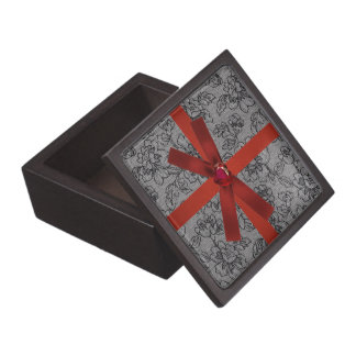 Black Lace with Red Bow Jewelry Box