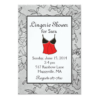 Black Lacy Red Lingerie Bridal Shower Invitations