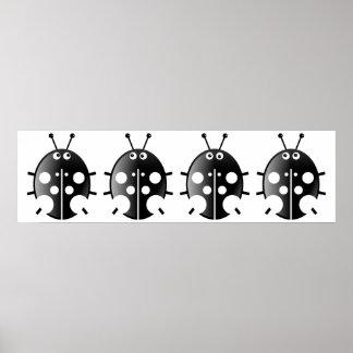 Black Ladybugs Poster
