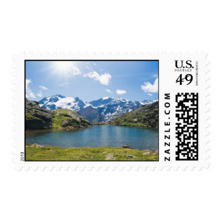 Black lake and Mount Cevedale - Italy Stamps