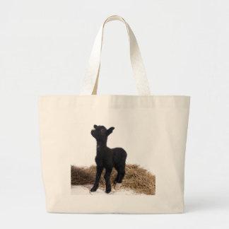 black lamb large tote bag