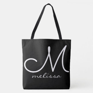 black large tote bag with name