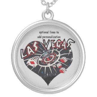 Black Las Vegas Heart Round Pendant Necklace