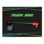 Black Laser Tag Birthday Party Thank You Postcard