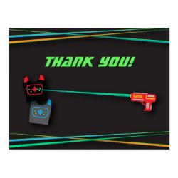 Black Laser Tag Birthday Party Thank You Postcard