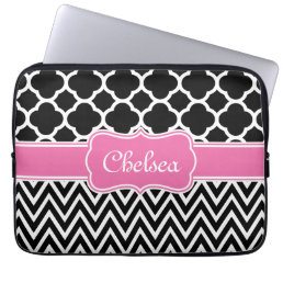 Black Lattice / Chevron Patterns Pink Name Computer Sleeve