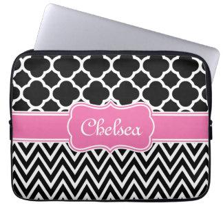 Black Lattice / Chevron Patterns Pink Name Laptop Computer Sleeve
