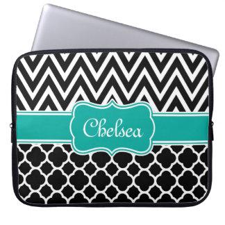 Black Lattice / Chevron Patterns Teal Name Laptop Computer Sleeves