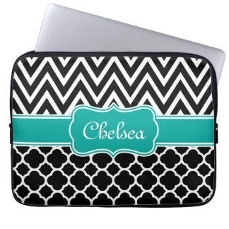 Black Lattice / Chevron Patterns Teal Name Laptop Sleeve