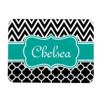 Black Lattice / Chevron Patterns Teal Name Magnet