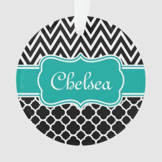 Black Lattice / Chevron Patterns Teal Name Ornament