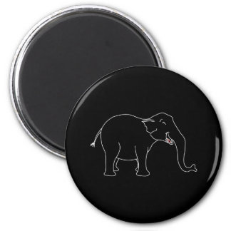 Black Laughing Elephant. 2 Inch Round Magnet