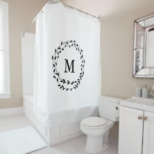 Black Laurel Garland Wreath Monogram Shower Curtain