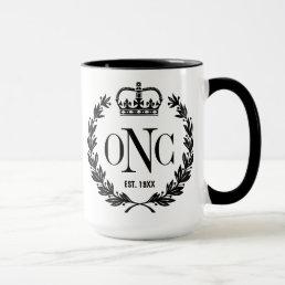 Black Laurel Wreath Monogrammed Logo Mug