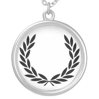 Black Laurel Wreath Silver Plated Necklace