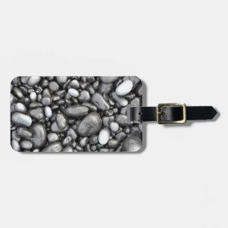 Black lava pebbles pattern bag tags