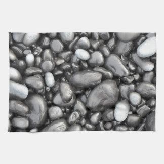 Black lava pebbles pattern towel