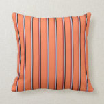 [ Thumbnail: Black, Lavender, Brown & Coral Colored Pattern Throw Pillow ]