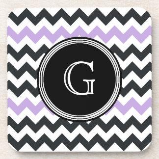 Black Lavender Chevron Monogram Coaster Set