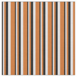 [ Thumbnail: Black, Lavender & Chocolate Stripes/Lines Pattern Fabric ]