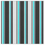 [ Thumbnail: Black, Lavender, Cyan & Slate Gray Lined Pattern Fabric ]