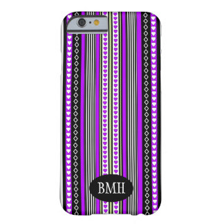 Black, Lavender & Lime Hearts and Stripes Pattern Barely There iPhone 6 Case