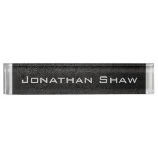 Black Leather (Add your name) Nameplates