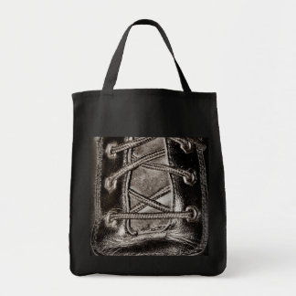 Black Leather and Laces Tote Bag