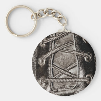 Black Leather and Laces Basic Round Button Keychain
