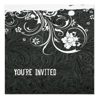 Black Leather and White Lace Invitation