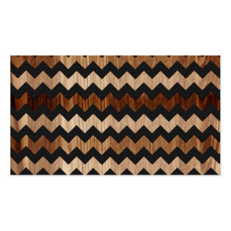 Black Leather and Wood Zig Zag Pattern Business Card Templates