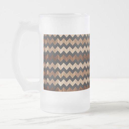 Black Leather and Wood Zig Zag Pattern Coffee Mug
