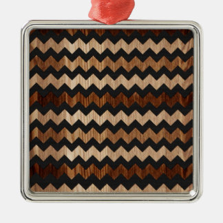 Black Leather and Wood Zig Zag Pattern Christmas Ornaments
