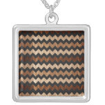 Black Leather and Wood Zig Zag Pattern Pendant