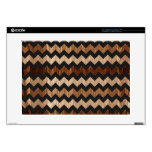"""Black Leather and Wood Zig Zag Pattern Decal For 15"""" Laptop"""