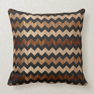 Black Leather and Wood Zig Zag Pattern Throw Pillow