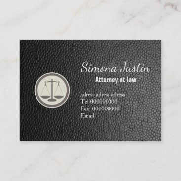 Black Leather attorney business card