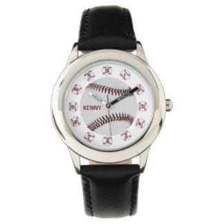 Black Leather BaseBall Wristwatches