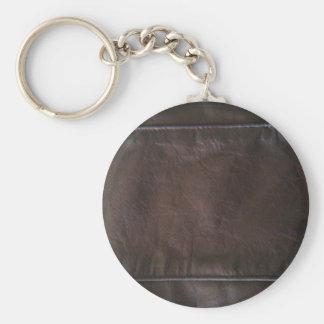 Black Leather Basic Round Button Keychain