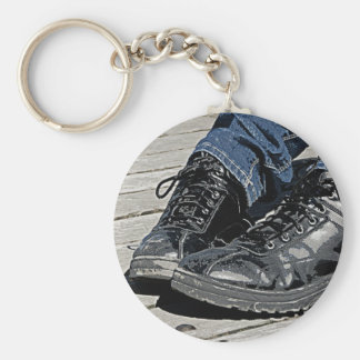 Black Leather Boots and Blue Jean Denim Keychain