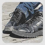 Black Leather Boots and Blue Jean Denim Square Stickers