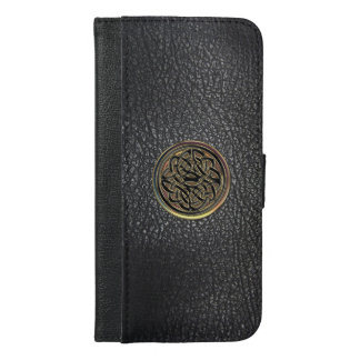 Black Leather Celtic Knot iPhone6 Plus Wallet Case