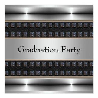 Black Leather Chrome Boys Graduation Party Personalized Announcement