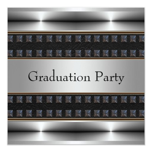 Black Leather Chrome Boys Graduation Party 5.25x5.25 Square Paper Invitation Card
